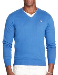 Polo Ralph Lauren V Neck Cotton And Cashmere Sweater Blue Legacy