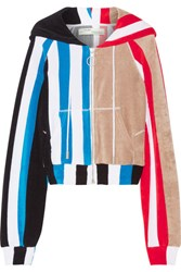 Off White Striped Printed Cotton Terry Hooded Top Red