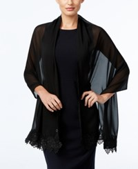 Calvin Klein Lace Trim Evening Wrap Black