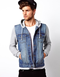Asos Denim Jacket With Jersey Sleeves Blue