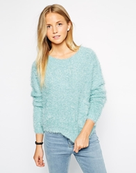 Brave Soul Fluffy Jumper With Front Pockets Duckegg