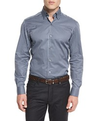 Ermenegildo Zegna Check Long Sleeve Sport Shirt Gray Blue Gray Blue