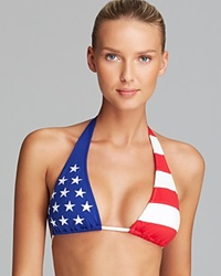 Ralph Lauren Blue Label Americana Package Slide Halter Bikini Top