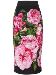 Dolce And Gabbana Rose Print Straight Skirt Black