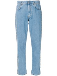 Moschino Cropped Buttoned Boyfriend Jeans Blue