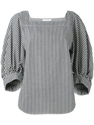 Chloe Striped Knitted Top Women Cotton 38 Blue