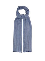 Denis Colomb Berber Striped Cashmere And Silk Blend Scarf Light Blue