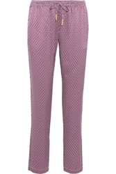 Paloma Blue Venice Printed Silk Satin Pants Magenta