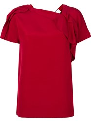 3.1 Phillip Lim Ruched Sleeve Blouse Red