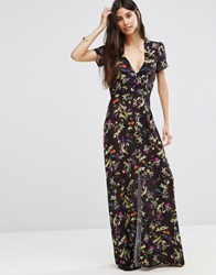 Oh My Love Button Down Maxi Tea Dress Midnight Botanical Multi