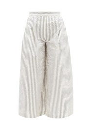 Vika Gazinskaya Wide Leg Cotton Blend Seersucker Suit Trousers Blue Stripe