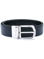 Ermenegildo Zegna Silver Tone Buckle Belt Men Leather 110 Black