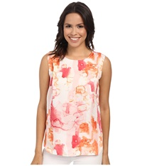 Calvin Klein Jeans Printed Pleat Tank Top Coral Flower Women's Sleeveless White