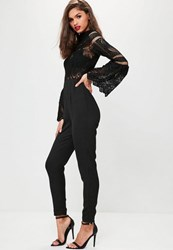Missguided Black Crochet Lace Top Flare Sleeve Jumpsuit