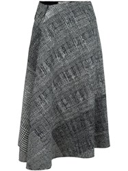 Jason Wu Checked Draped Skirt Black