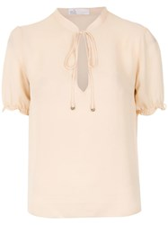 Spacenk Nk Pussy Bow Silk Blouse Neutrals