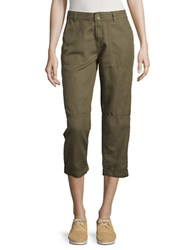 Calvin Klein Jeans Cropped Linen Cargo Pants Grape Leaf
