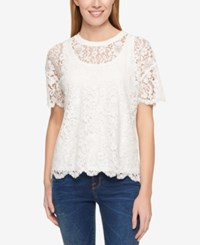 Tommy Hilfiger Lace T Shirt Only At Macy's Ivory