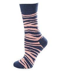Happy Socks Zebra Crew Pink Blue