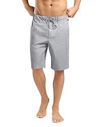 Hanro Check Cotton Lounge Shorts Shaded Gray Check