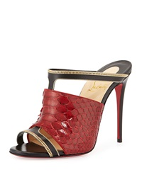 Christian Louboutin Akenana Python Red Sole Mule Pump Black Red