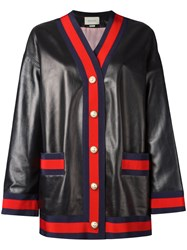Gucci Web Trim Cardigan Jacket Black