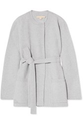Brock Collection Belted Ribbed Wool And Cashmere Blend Cardigan Light Gray