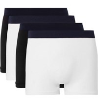 Hamilton And Hare Five Pack Seamless Stretch Jersey Boxer Briefs White