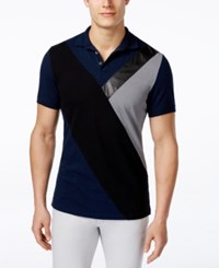 Inc International Concepts Faux Leather Men's Fragmentation Polo Only At Macy's Navy