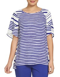 Chaus Bohemian Bloom Tulip Sleeve Plateau Striped Blouse Navy