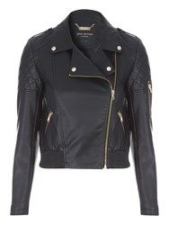 Jane Norman Black Pu Bomber Jacket Black