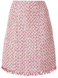 Giambattista Valli Tweed Straight Midi Skirt Pink