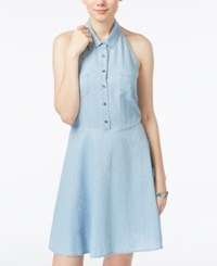 Planet Gold Juniors' Chambray Halter Shirtdress Navy