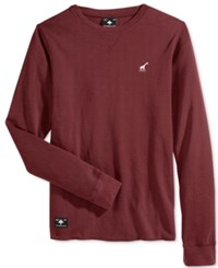 Lrg Men's Waffle Knit Thermal Shirt Maroon