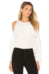 Halston Cold Shoulder Tunic With Flutter Detail White