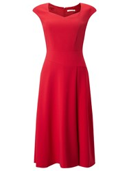 Jacques Vert Flared Crepe Dress Bright Red