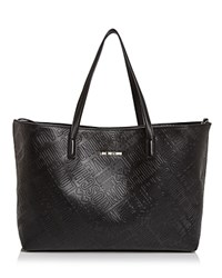 Love Moschino Embossed Logo Leather Tote Black Silver