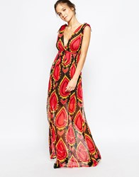 Traffic People Silk Maxi Dress In Abstract Floral Print Black