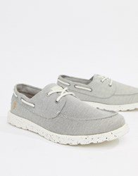 Farah Clegg Canvas Boat Shoes In Grey