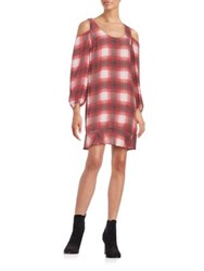 Plenty By Tracy Reese Plaid Flounced Shift Dress Ruby Ombre