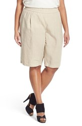 Eileen Fisher Plus Size Women's Organic Linen Pull On Long Shorts Natural