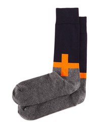 Plus Sign Knit Socks Orange Navy Charcoal Orange Nvy Char Jonathan Adler