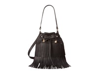 Betsey Johnson Fringe Party Bucket Black Handbags