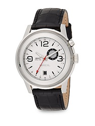 Breil Milano Stainless Steel And Embossed Leather Dual Time Watch White Black White
