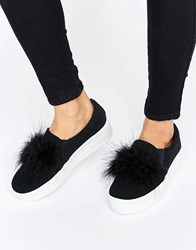 Truffle Collection Faux Feather Flatform Trainer Black Nubuck