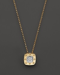 Roberto Coin 18K Yellow And White Gold Square Pois Moi Pendant Necklace With Diamonds 16.5 Gold White