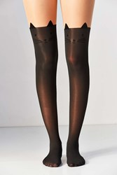Urban Outfitters Cat Ears Faux Thigh High Tight Black Multi