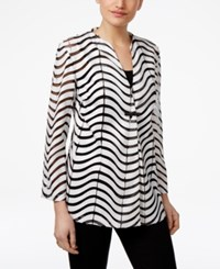 Jm Collection Sheer Striped Faux Leather Jacket Only At Macy's Deep Black