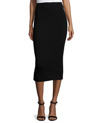 Milly Fitted Midi Pencil Skirt Black