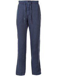 120 Lino Straight Leg Drawstring Trousers Blue